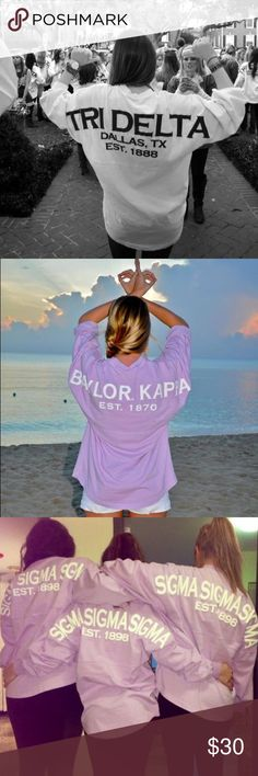 Tri Delta (Delta Delta Delta) Spirit Jersey Beautiful lavender color as shown in the last two pictures. Tridelta (delta delta delta sorority) on the back, crest on the front. Perfect condition, no flaws. Tops Tees - Long Sleeve