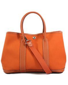 Hermes Orange Canvas Veau Negonda Leather Garden Party Tote TPM Handbag