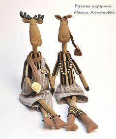 Купить Андерс и Бенедикта. Влюбленные лосики. - лось, тильда лось, лосик, пара, подарок на свадьбу