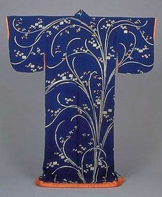 Kosode (Kimono) with Orchids and Tale of Genji Designs on Dark Blue Crepe (Chirimen) Ground. 18th century, Japan. Kyoto National Museum