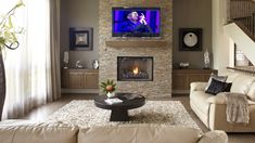 Style et arrangement foyer Gas Fireplace Mantel, Fireplace Design, Fireplaces, Cool Rooms, Great Rooms, Living Room Designs, Living Room Decor, Interior Exterior, Interior Design