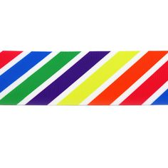 PR.045 - Rainbow Stripe Diagonal Grosgrain Printed Ribbon