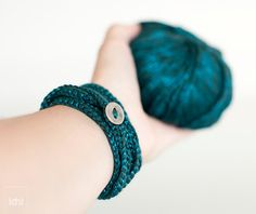 Crochet Bracelet and Necklace in one piece Teal Blue  by idniama, $22.50