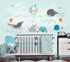 Under the Sea Decal with Custom Name Vinyl Decal por InAnInstantArt