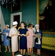 First Lady Jacqueline Bouvier Kennedy. Photo: LIFE magazine, This esssay is the third in the series on the history of decora. Jaqueline Kennedy, Jacqueline Kennedy Onassis, Familia Kennedy, Service Medals, John Fitzgerald, Navy Blue Dresses, Presidents, American, Lady