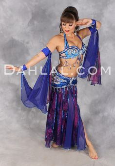 6ba53225cac8 VENUS IN BLOOM in Royal Blue, Fuchsia, and Silver by Designer Pharaonics of  Egypt, Egyptian Belly Dance Costume - Dahlal Internationale Stor.
