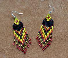 """short 3""""  native beaded earrings handmade by Suzanne Flumerfelt in Yukon, Canada."""