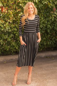 Black Stripe Midi Dress