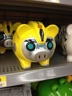 Transformers Prime Bumblebee Piggy Bank - I have this one and a smaller one that looks just like it that I call BB.  =3