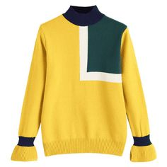 Color Block High Neck Pullover Sweater Yellow (371.255 IDR) ❤ liked on Polyvore featuring tops, sweaters, block top, yellow sweater, block sweater, color block tops and high-neck tops