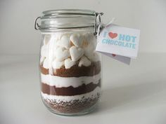 Hot Chocolate Gift Jar with handcut marshmallows using mini cookie cutters