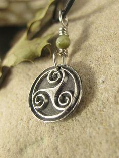 Triple Spiral Triskelion, Triskele, Wax Seal Charm Pendant,  Fine Silver Connemara Marble, Irish Celtic Jewelry Necklace