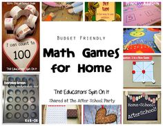Math Games for Home from The Educators' Spin on It.