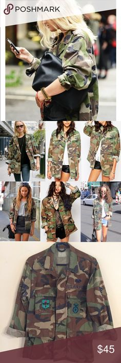 Vintage Military Camo Jacket Vintage Military Air Force Camo Jacket. This can be worn soooo many ways and always looks cute! This is an authentic, vintage Air Force Camo Jacket. The patches on it are beautiful! This fits really well too, it isn't too baggy or oversized. It's fits like a size L and is really amazing on. Jackets & Coats