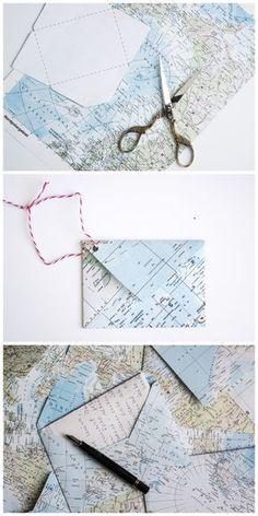 Cute Wie du aus einer Atlas Seite einen Briefumschlag falten kannst Envelopes Snail mail and Upcycling