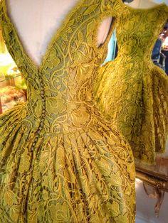Joanne Fleming Design: Chartreuse Art Nouveau Lace and Silk Tea-length Wedding Dress