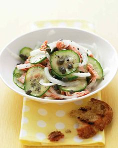 Combine these raw Vidalias with flaked salmon, capers, and cucumber in a salad substantial enough to be a meal.