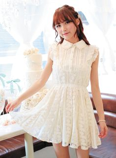 Lace Sleeve Flower Lace Dress, $45.00. Available in beige, brown and pink.