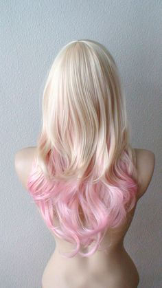 Pastel pink hair Curly by kekeshop on Etsy.don't want the wig but I do like this for my soon to be pink hair! Pink Ombre Hair, Pastel Pink Hair, Blonde Ombre, Blonde Wig, Pale Pink, Frontal Hairstyles, Wig Hairstyles, New Hair, Your Hair
