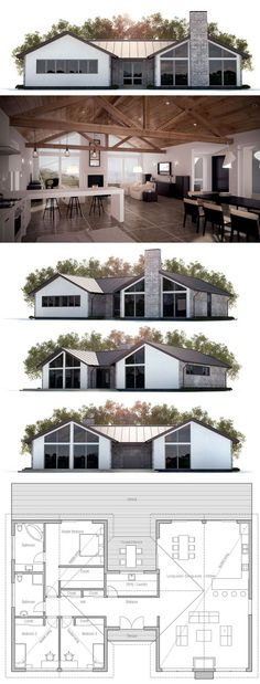 House Plan with three bedrooms, open planning, vaulted ceiling.
