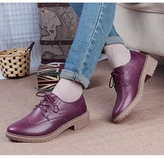 Women's #purple leather lace up #DressShoe retro Oxford style, carving, sewing thread, leather upper and lining.