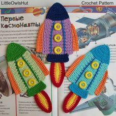 074 Rocket Bookmark or decor Amigurumi Crochet by LittleOwlsHut