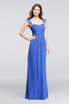 Flutter cap sleeves frame the sweetheart neckline on this long extra length  chiffon bridesmaid dress. The sleeves transform into a lovely ruffle at the  ... 108a13720ad5