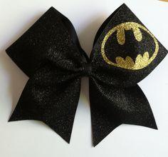 3inch BIG Cheerbow Superhero Batman Glitter Cheerleader Cheer Bow Copy by ThrowITBows on Etsy