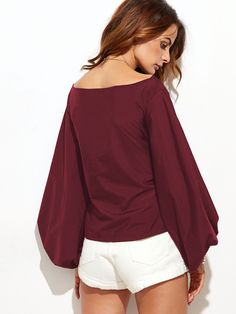 6821b25e4ff1d8 SheIn offers Burgundy Boat Neck Lantern Sleeve Bow Tie Top   more to fit  your fashionable needs.
