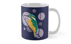 """Kingfisher on a bough"" Mug by Savousepate on Redbubble #mug #kingfisher #bird #circles #blue #purple #mauve #green #turquoise #orange"