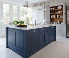 kitchens dark blue island - Google Search