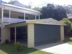 carport Double Carport, Carport Garage, Carport Ideas, Garage Extension, Garden Organization, Sliding Gate, Queenslander, Garages, The Hamptons
