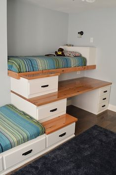 Amazing idea for an awkward small space in your home! Try making these built in bunk beds with stairs for a shared boys bedroom to save space and create a unique space. This room also has a large reclaimed wood desk top made from hydro poles, and is finished with a poured resin top. Check out how I completed this room makeover! #bunkbed #interiordesign #DIY