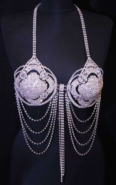 Exotic Professional Metal Prong Set Crystal Rhinestone Belly Dance Bra Top  O/S