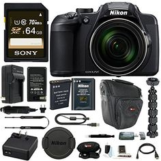 Includes: Nikon COOLPIX B700 Digital Camera | Sony 64GB SD Card | Focus Replacement Battery Pack (EN-EL23) | HDMI to Micro HDMI cable | Focus Accessory Kit | 12-Inch Spider Tripod Nikon Authorized Dealer – Includes USA Manufacturer's Warranty 60x optical zoom/120x Dynamic Fine Zoom super telephoto NIKKOR ED glass lens | PSAM mode dial and RAW (NRW) capture for maximum image control