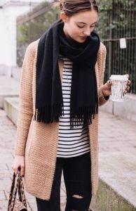 #fall #fashion / black scarf + stripes