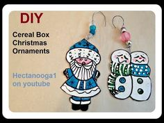 (6) CEREAL BOX CHRISTMAS ORNAMENTS, 2017 - Paper Crafts - YouTube Crochet Flowers, Fabric Flowers, Cardboard Crafts, Paper Crafts, Paper Ornaments, Christmas Ornaments, Diy Arts And Crafts, Diy Crafts, Christmas Playlist