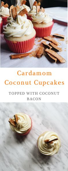 Soft, fluffy, fragrant Cardamom Cupcakes topped with luscious Coconut Swiss Buttercream and crunchy Coconut bacon.