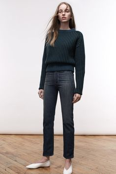 Colovos | Fall 2016 Ready-to-Wear | 08 Green long sleeve sweater and blue jeans