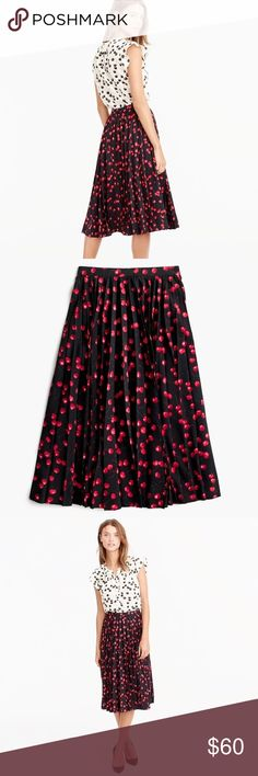 Pleated Midi Skirt in Cherry Print - J. Crew The secret to this flattering skirt? Its sunburst-style pleats, which lie flat at the waist for a clean, streamlined effect. We crafted this version in a playful cherry print that we developed in-house and sprinkled throughout our women's collection. A couple things we like about it: the sophisticated colors and the fact that, from far away, it kinda looks like a fun polka dot.  Poly. Back zip. Lined. Machine wash. Import. Item F5482. J. Crew…