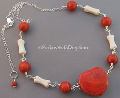 Chunky Dog Bone Necklace Fat Red Coral Heart - handmade and one of a kind at ForLoveofaDog.com