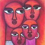 Tribal FamilyBuy/Sell Paintings Online at www.abstract4life.com  Find art work that matches your style. Rich collection of Paintings and Sketches