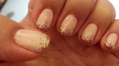 Gel nails done by Rachel today. Pink and glitter, simple yet ...