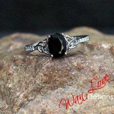 Black Spinel & Diamond Oval Double Celtic Knot Engagement Ring, 2ct, 8x6mm, Custom, 14k 18k White Yellow Rose Gold-Platinum-Wedding-Braided