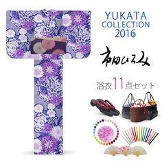 2016 Summer Hiromi Ichida women's Yukata set Purple chrysanthemum Kanako pattern