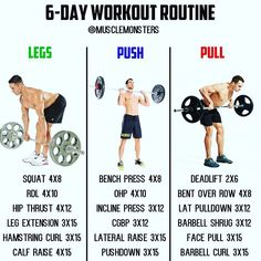 6-Day Muscle Building Workout By @musclemonsters _ Ill be the first to admit you dont have to be in the gym 6 days per week to make serious gains. That said however a lot of us actually LOVE being in the gym and will find any excuse to be in there more frequently. If thats you then a Legs/Push/Pull workout like the one above is perfect! Not only will you be able to fit a good amount of volume into each session but youll hit every muscle group 2x per week! _ Heres a sample schedule of the…