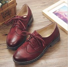 0b113fea6 Fashion Brogue oxford shoes for women Retro women Leather Flats Oxford shoes