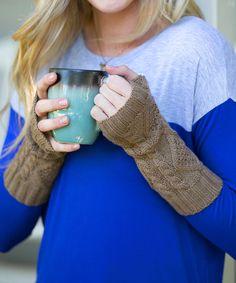 I GOTTA FIND ME SOME HAND WARMERS - LOVE THE IDEA OF THEM.   Mocha Diamond-Knit Hand Warmers