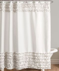 Shop for Lush Decor Skye White Shower Curtain. Get free delivery On EVERYTHING* Overstock - Your Online Shower Curtains & Accessories Store! Cortina Box, Blue Skye, Ruffle Shower Curtains, Bathroom Curtains, Ruffle Fabric, Ruffles, Shower Liner, Hanging Curtains, Shabby Chic