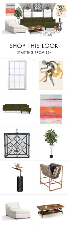 """""""Mid-Century Modern"""" by katherineggg ❤ liked on Polyvore featuring interior, interiors, interior design, home, home decor, interior decorating, Joybird, Alessi, Pottery Barn and Emerald Home Furnishings"""